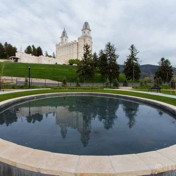 Photo of reflection in pool of Manti Utah Temple