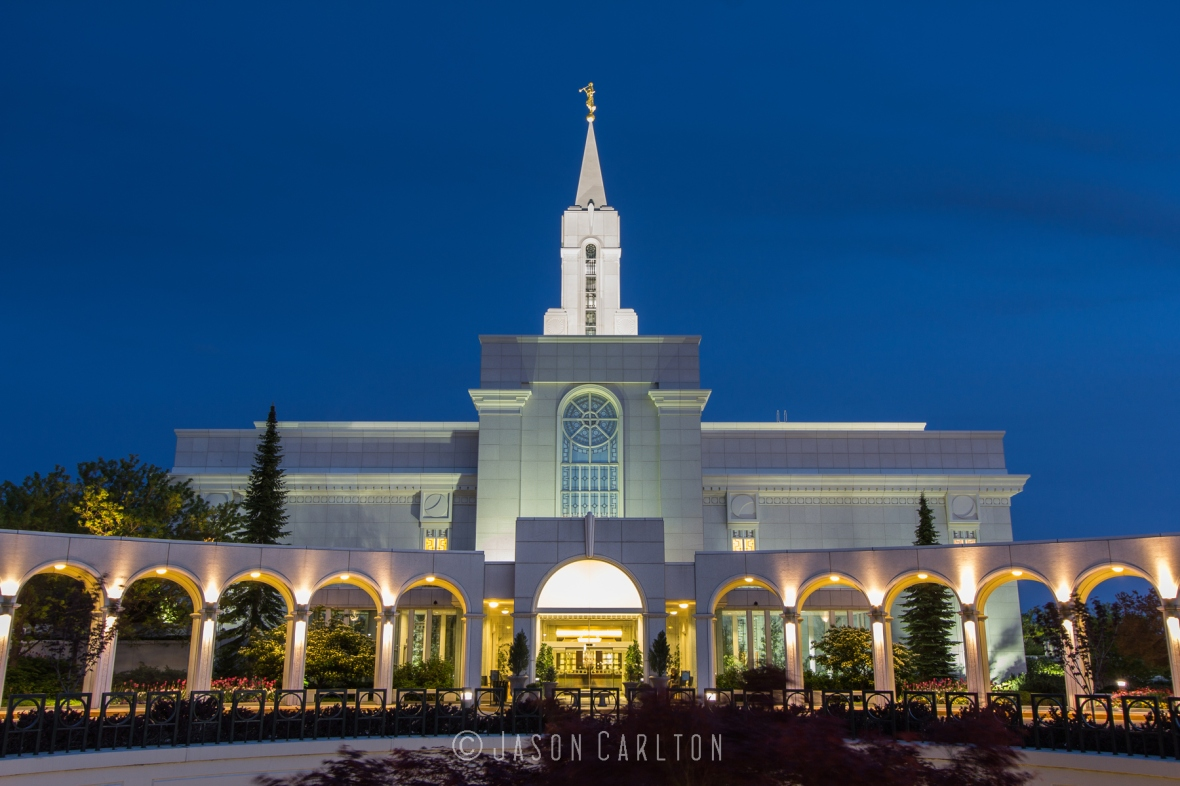 Photo of the entrance to the Bountiful Utah Temple at dusk