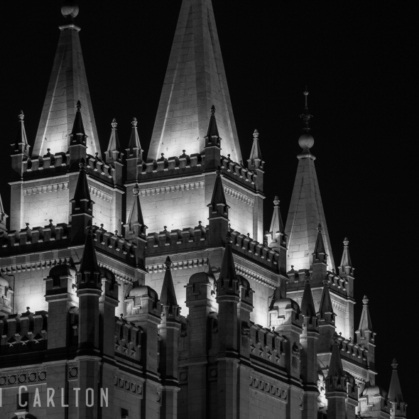 Night photo Spires of the Salt Lake Temple in Black and White