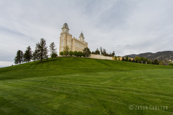 Photo of south lawn of the Manti Utah Temple