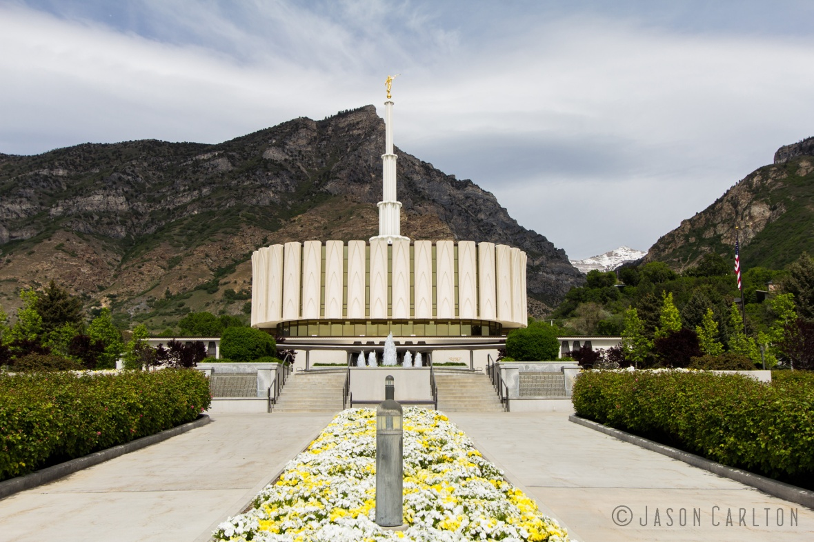 Photo of the main walkway across the Provo Utah Temple grounds