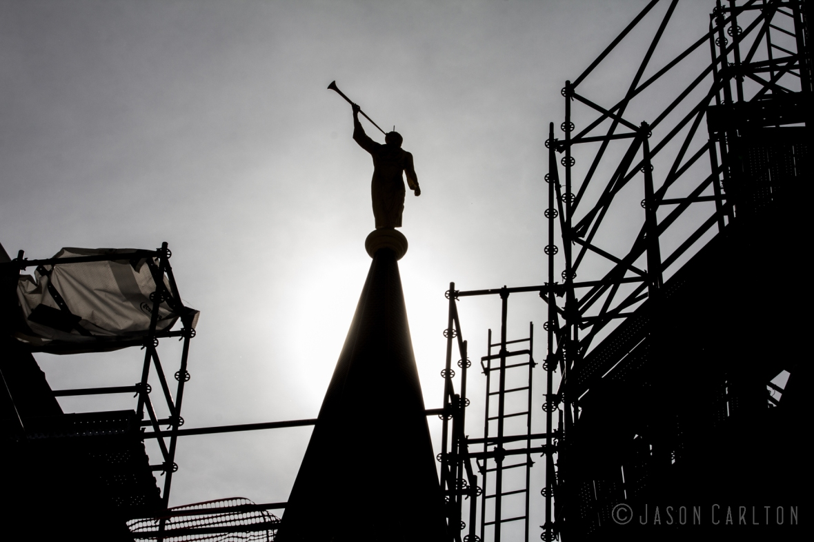 Silhouette photo of the Angel Moroni atop the Provo City Center Temple