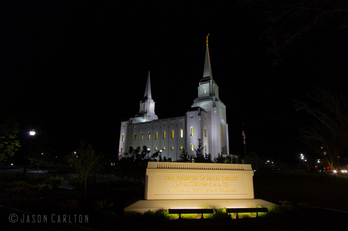 Night photo of the Brigham City Utah Temple