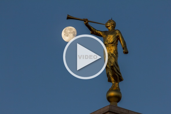 Image of Angel Moroni with video play button
