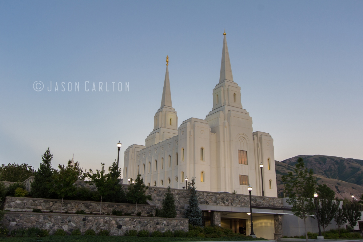 Photo of the Brigham City Utah Temple after the sunset