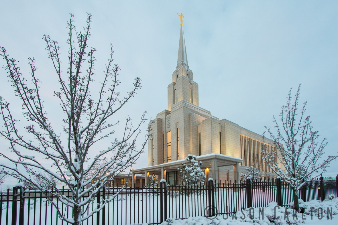 Oquirrh Mountain Utah Temple winter snow dawn