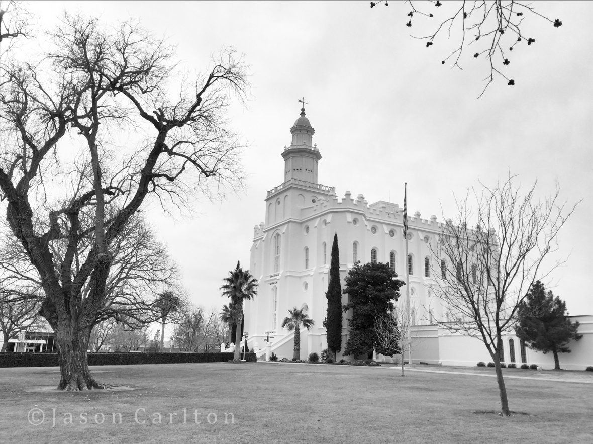 black and white photo of St George Utah Temple