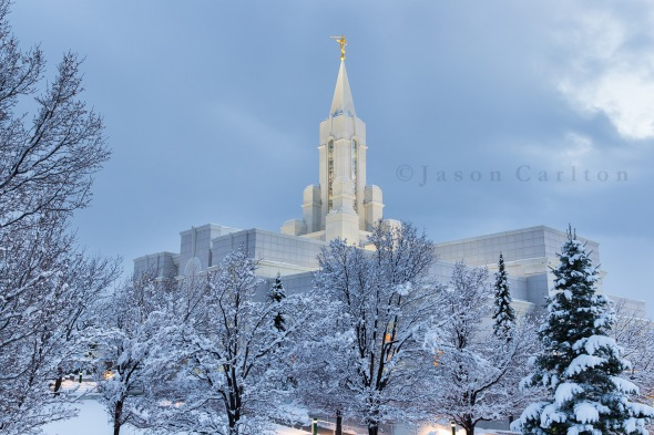 Bountiful Utah Temple winter snowfall